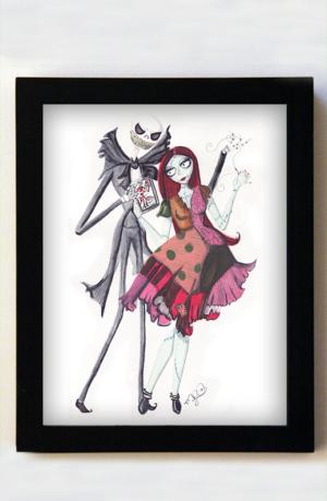 Jack and Sally 8x10 Black Frame
