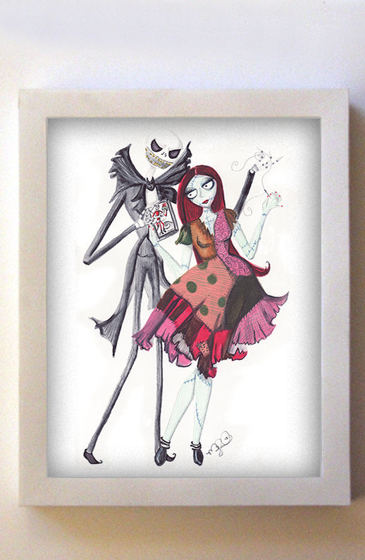Jack and Sally 8x10 White Frame