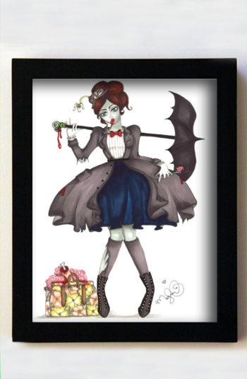 Mary Zombbins 8x10 Black Frame