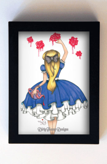 Painting the Roses Red 5x7 Black Frame