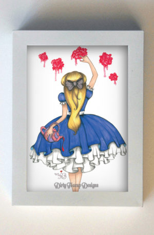 Painting the Roses Red 5x7 White Frame