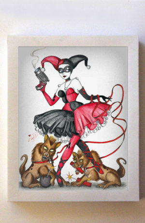 Harley Quinn 8x10 White Frame